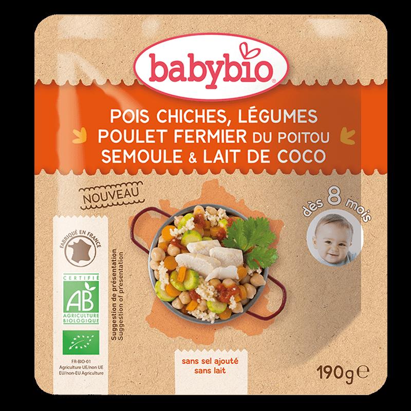 Pois chiches Légumes Poulet fermier du Poitou Semoule et Lait de Coco