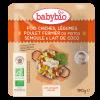 Babybio - Pois chiches Légumes Poulet fermier du Poitou Semoule et Lait de Coco - Repas bébé midi
